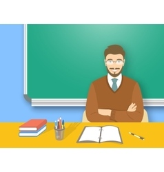 School teacher man at the desk flat education vector image