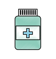 Scribble pill bottle vector