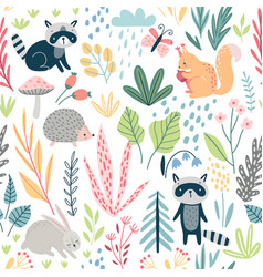 seamless forest pattern with wild animals plants vector image