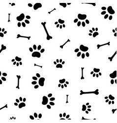 seamless pattern paw prints of dogs vector image