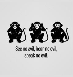 See no evil hear no evil speak no evil vector