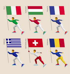 set of simple flat athletes skating with flags vector image