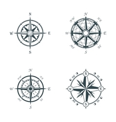 set vintage or old different style compasses vector image