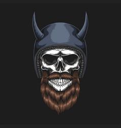 skull biker wearing a helmet vector image