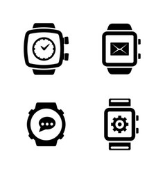 smart watches simple related icons vector image