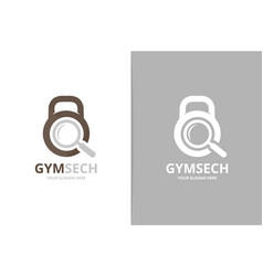 sport and loupe logo combination gym and vector image