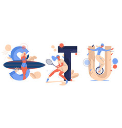 Sport letters with training women smiling english vector