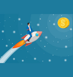 successful business man flying on rocket on graph vector image