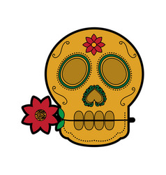 Sugar skull with flower mexico culture icon imag vector