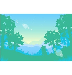 Summer night landscape Moon and wolf vector image