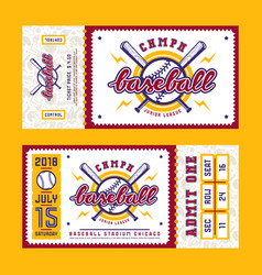 Template for baseball ticket vector