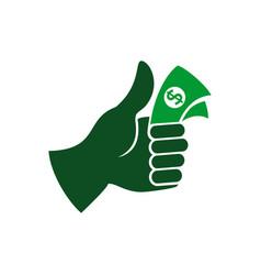 thumb up cash money symbol design vector image