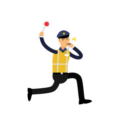 traffic control officer running whistling and vector image