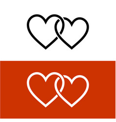 Two line style hearts together linked love symbol vector