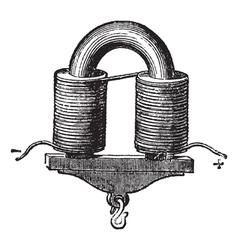 U-shaped Electromagnet vintage engraved vector