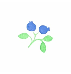 Watercolor blueberry on the white background vector image