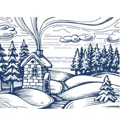 winter forest sketch vector image