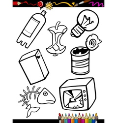 cartoon garbage objects coloring page vector image vector image