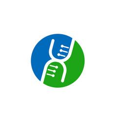 dna code in circle logo gene logotype vector image