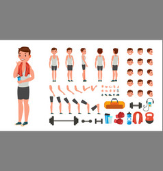 fitness man animated athlete character vector image vector image