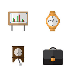 flat icon life set of clock briefcase whiteboard vector image vector image