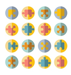 puzzle flat icon set vector image vector image