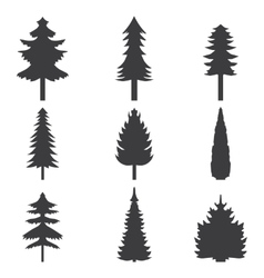 Set of abstract stylized balack trees silhouette vector image