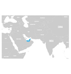 united arab emirates blue marked in political map vector image vector image