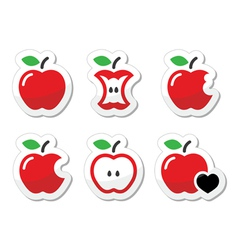 Apple apple core bitten half labels set vector