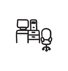 computer set with table and chair sketch icon vector image vector image