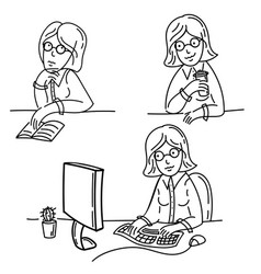 freelance girl works on computer drinking tea vector image vector image
