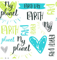 happy earth day hand drawn lettering seamless vector image