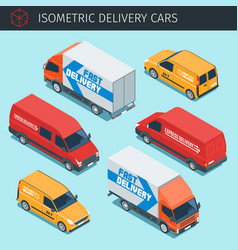 isometric delivery cars vector image vector image