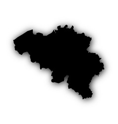 map of belgium with shadow vector image vector image
