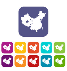 map of china icons set flat vector image vector image