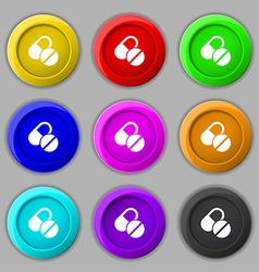 Medical pill icon sign symbol on nine round vector image