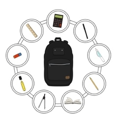School backpack contents vector