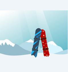snowboard in the ski mountain resort vector image vector image