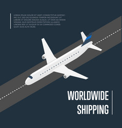 worldwide shipping isometric banner with plane vector image vector image