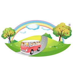 A pink bus with passengers vector image vector image