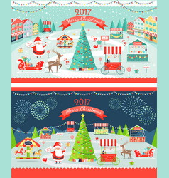 christmas market day and night panoramic vector image vector image