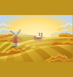 farm with green fields rural landscape a mill vector image