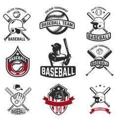 set of baseball emblems baseball bats helmets vector image vector image