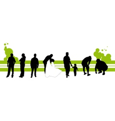 Silhouettes of the people vector image vector image