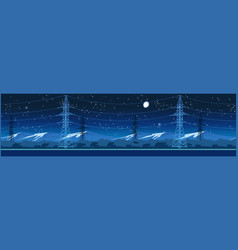 high voltage power lines at night vector image