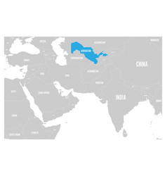 uzbekistan blue marked in political map of south vector image