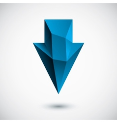 3d cyan down arrow with light background vector