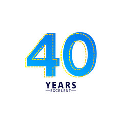 40 years excellent anniversary celebration blue vector