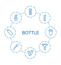 8 bottle icons vector