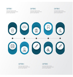 antibiotic icons line style set with polyclinic vector image